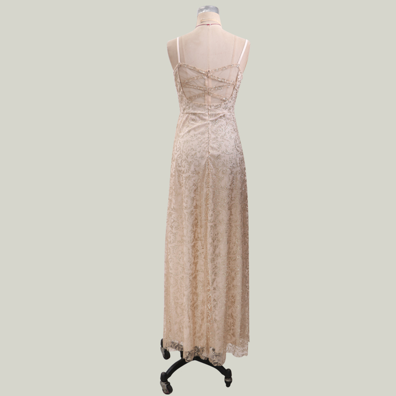 New-Arrival-Champagne-Gold-Long-Cheap-Evening-Dress-2019-Sexy-V-Neck-Sequined-Sheer-Back-Formal (3)