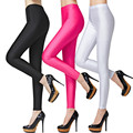Colorido Moda Brilhantes Magro Calças Stretch Plus Size Fina Seda Gelo Leggings para As Mulheres