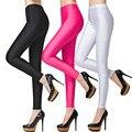 Colorido Moda Brillantes Delgados Pantalones Elásticos Más Tamaño Polainas para Las Mujeres de Seda Fina Capa de Hielo