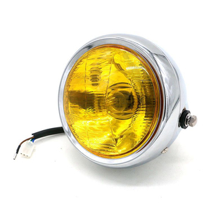 Image 2 - DC 12V Motorcycle Refit Headlight Vintage Round Motorcycle Head Light Scooter Motorbike Motor Front Headlights Lamp Universal