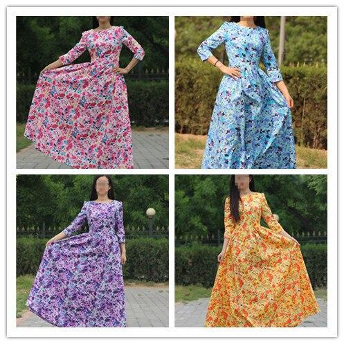 3a6e1f5e26 New style 2015 cotton Long Maxi Dress half sleeve floor-length Vintage  Floral print dress elegant vestidos fashiong long dress
