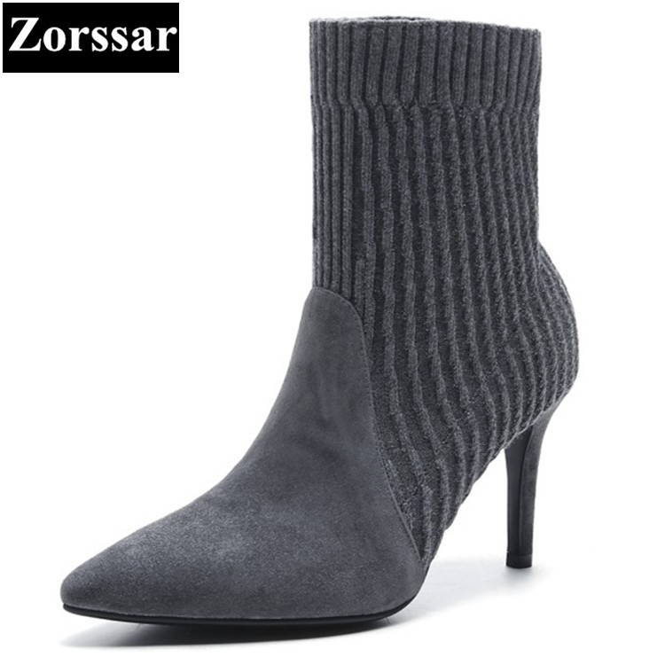 {Zorssar} 2018 NEW Fashion Suede Boots Women Thin heels ankle boots pointed toe womens Stretch Boots autumn winter women shoes zorssar 2018 new fashion women boots genuine leather zipper round toe mid heels womens mid calf boots autumn winter women shoes