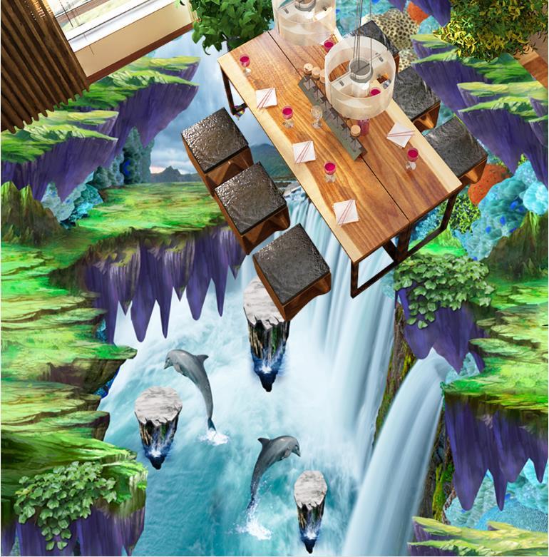 papel pintado de la cocina d piso isla de arte paisaje cascada prr paredes vinilos decorativos de habitacion pis