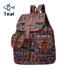 New Fashion Women Backpack Vintage Canvas School Bag Female Travel Bags Large Capacity Laptop