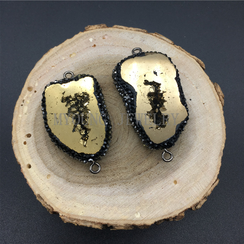 Freeform Crystal Druzy Geode Slice Connector Pendant Quartz Titanium Paved Rhinestone Edges For Necklace Women Jewelry MY1285 in Pendants from Jewelry Accessories