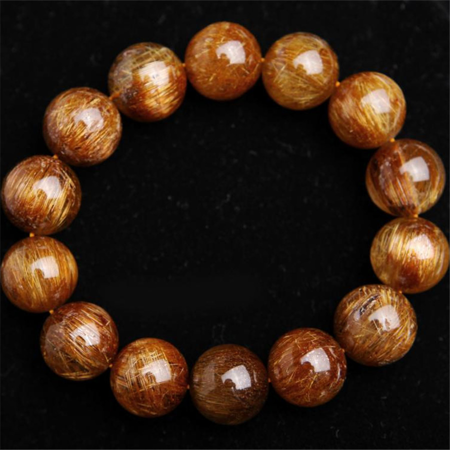 16mm Genuine Natural Gold Copper Hair Needle Rutilated Quartz Crystal Round Beads Fashion Jewelry Charm Mens Stretch Bracelet 7mm genuine natural grey needle hair rutilated quartz bracelets for women charm stretch transparent round crystal beads bracelet