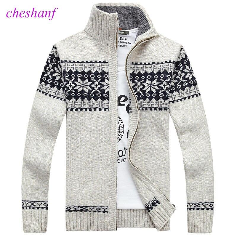 Camisola de Inverno Novo Pullover Padrão Do Floco de neve de natal dos homens Lazer Moda Cardigan Gola Masculino Espessamento Casaco De Lã