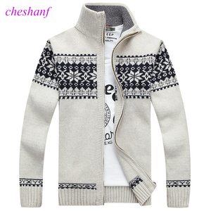 Image 1 - Christmas Sweater Winter New Pullover Snowflake Pattern Men s Leisure Cardigan Fashion Collar Male Thickening Wool Jacket