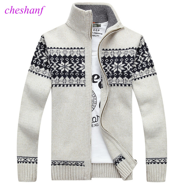 Christmas Sweater Winter New Pullover Snowflake Pattern Men s Leisure Cardigan Fashion Collar Male Thickening Wool Jacket