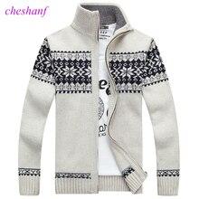 Świąteczny sweter zimowy nowy sweter wzór płatka śniegu męski wygodny kardigan modny kołnierz męski pogrubienie kurtka z wełny