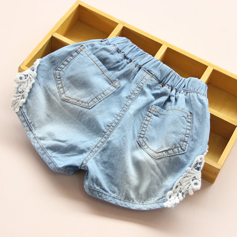 2021 Hot Summer Fashion Beauty Children Little Baby Kids Lace Edges Jeans Girls Denim Blue Shorts For 2 3 4 6 8 10 12 Years Old 2