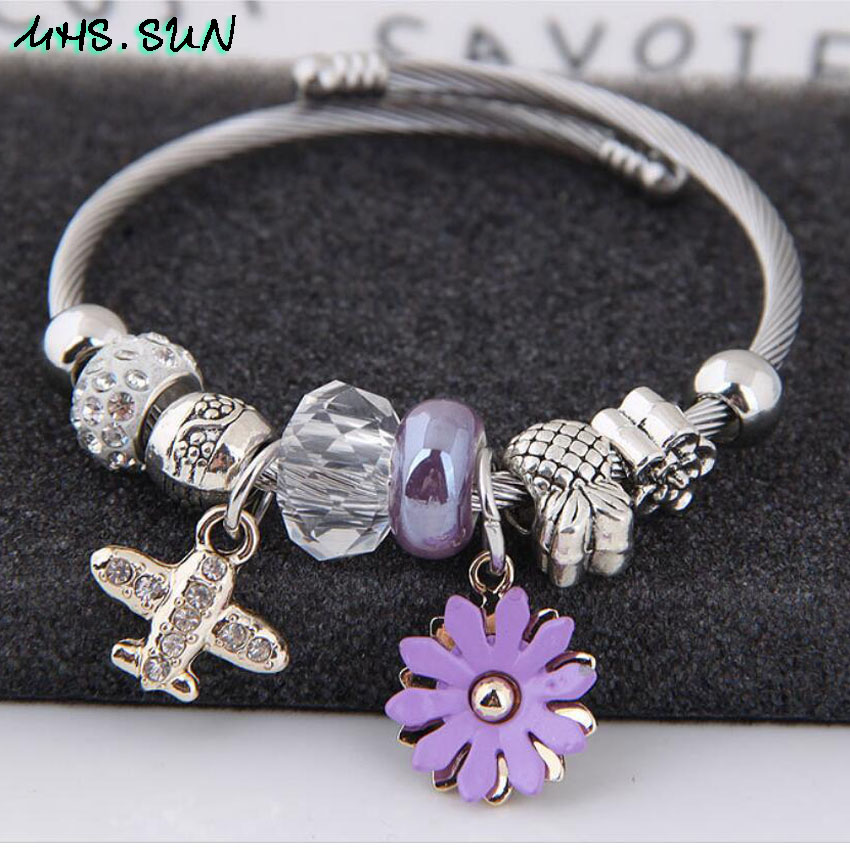 28-3Fashion Design Women Bangles Bracelets Bohemia Style Flower Plane Pendants European Bangles For Female All-Math Jewelry