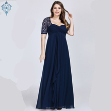 Ameision Plus Size Evening Dresses 2019 Ever Pretty New Short Sleeve Lace Back Navy Blue Sexy Chiffon Long Wedding Guest