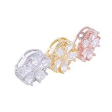 Acessório da jóia 14mm Micro Pave Zircon Flor Jóias Conector Contas Encantos de Metal de Bronze Para As Mulheres Finas Jóias Qualidade CHF267