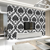 Cheerhuzz Luxury Black White Embossed Flocking Wallpaper Roll Classic Vintage Floral Pattern Wall Paper 3D Home
