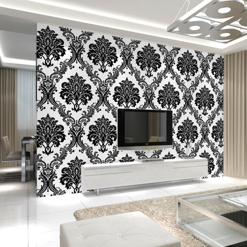 Cheerhuzz Luxury Black White Embossed Flocking Wallpaper Roll Classic Vintage Floral Pattern Wall Paper 3D Home Decoration WP209 1 design laser cut white elegant pattern west cowboy style vintage wedding invitations card kit blank paper printing invitation