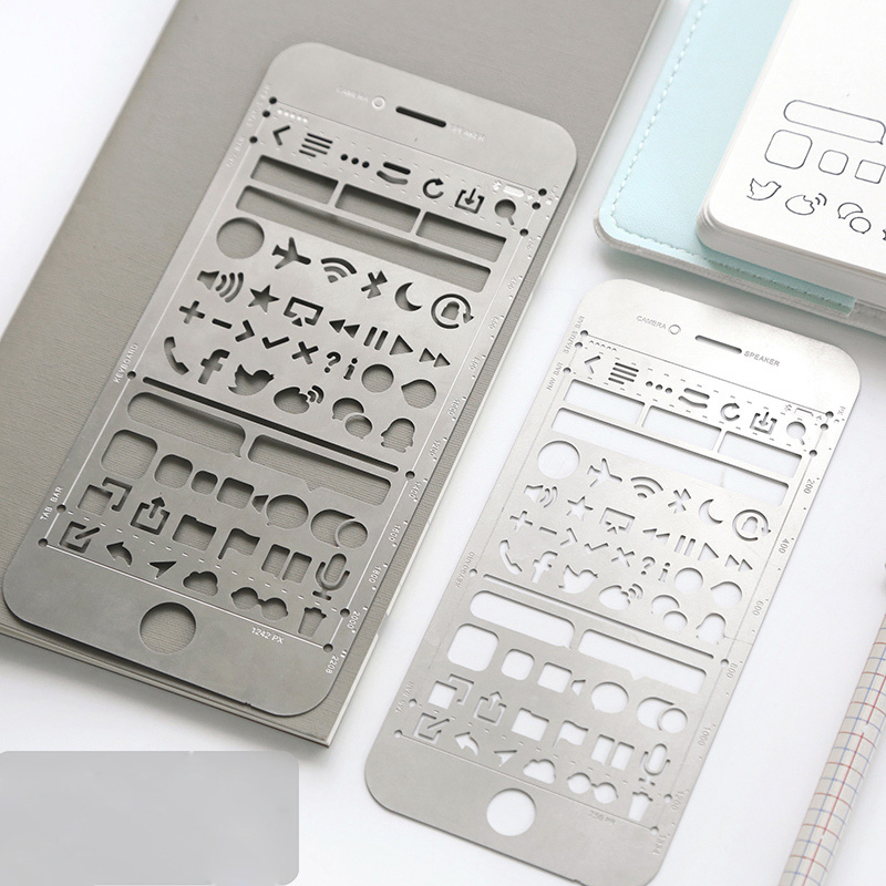 1X Useful Phone Design Hollow Metal Drawing Picture Graffiti Template Ruler Study Stationery School Office Supply