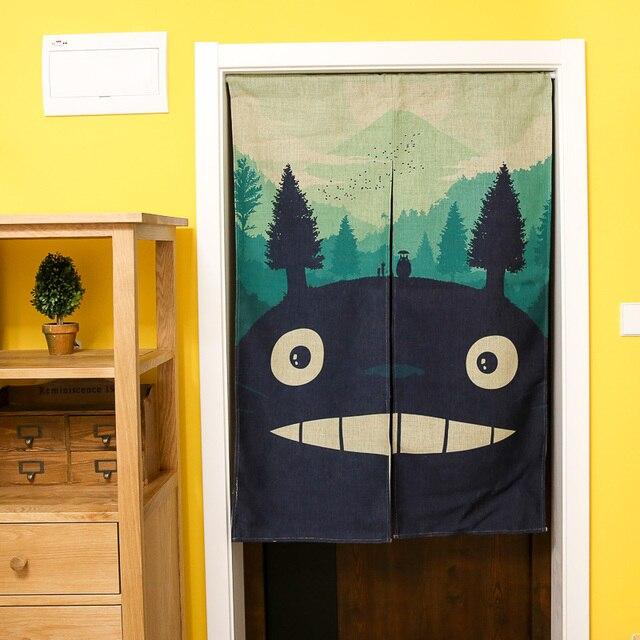 Cartoon Kids Room Divider Japanese Anime Linen Cotton Blackout Door