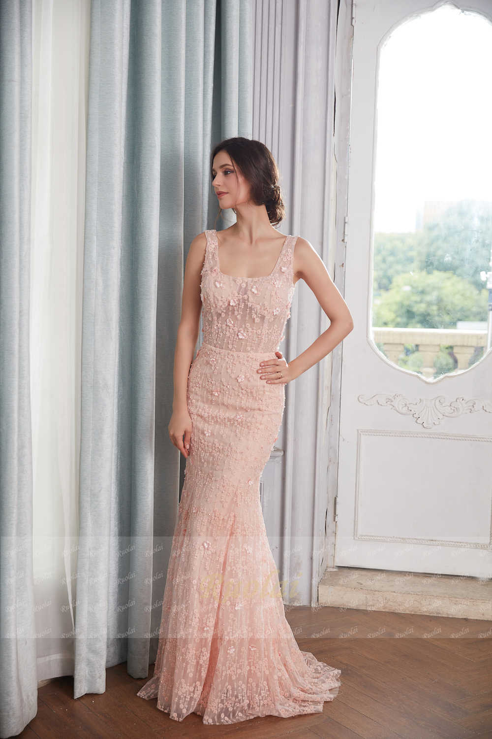26183c74b ... Sexy Mermaid Evening Dresses 2019 Square Neck Flower Beaded Lace Prom  Dress 2019 Long Evening Gown ...