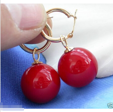 Noble ladys Rare Huge 12mm Tahitian Coral Red South Sea Shell Pearl Natural stone 925 Sterling Silver wedding jewelry earrings