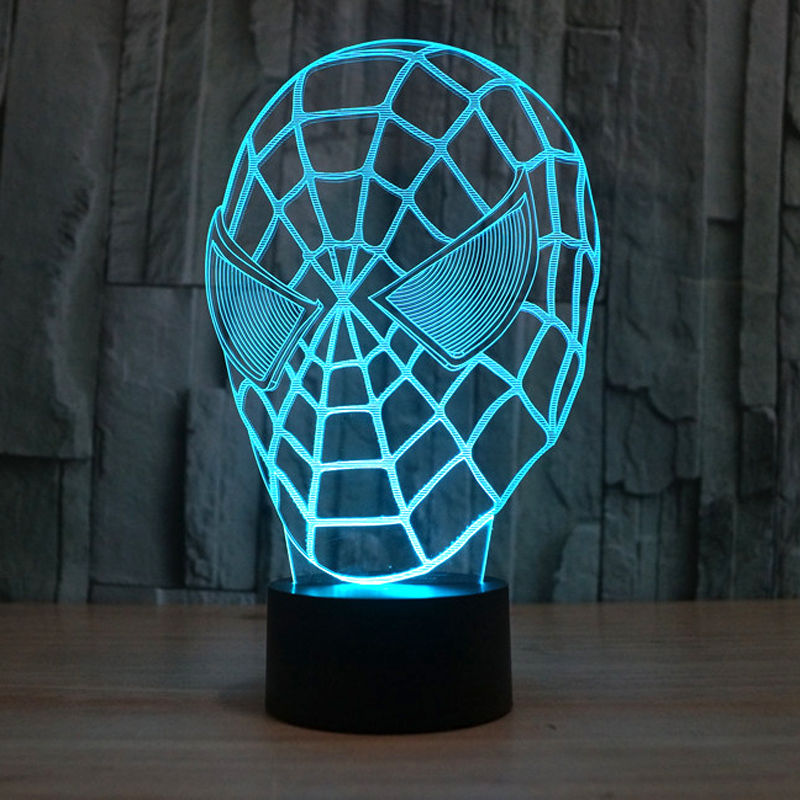New Spiderman Night Light Colorful 3D Luster Touch Switch LED Night Lamp Stereo Spiderman Lamp Creative Atmosphere Desk Light