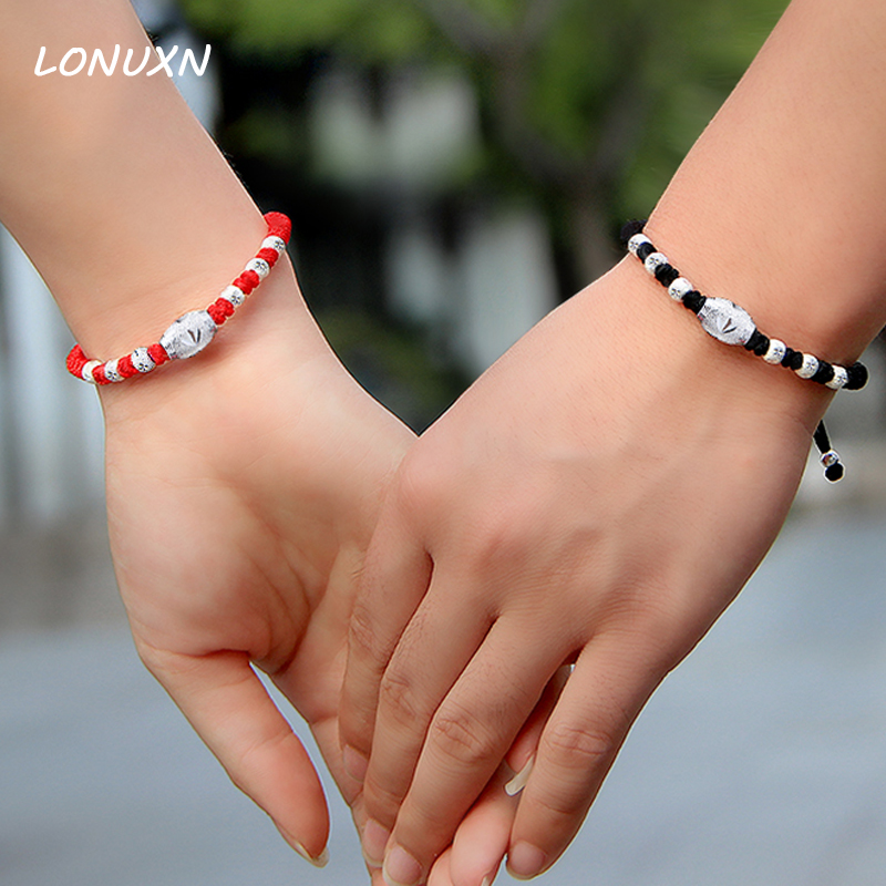 High quality male + women a pair of bracelets can be engraved 999 Sterling Silver Beads red rope + black rope lovers best gift pair of stylish engraved heart fringe earrings for women
