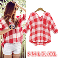 summer style brand new fashion 2015 casual women plus size xxl tops long sleeve v neck streetwear red plaid shirt Linen blouse
