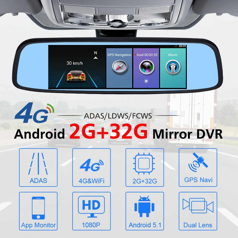 """Junsun Новый 4G """"7,84 специальное зеркало 2 + г 32 г Автомобильный dvr ADAS Android с gps автомобильный видеомагнитофон зеркало заднего вида камера регистраторы"""