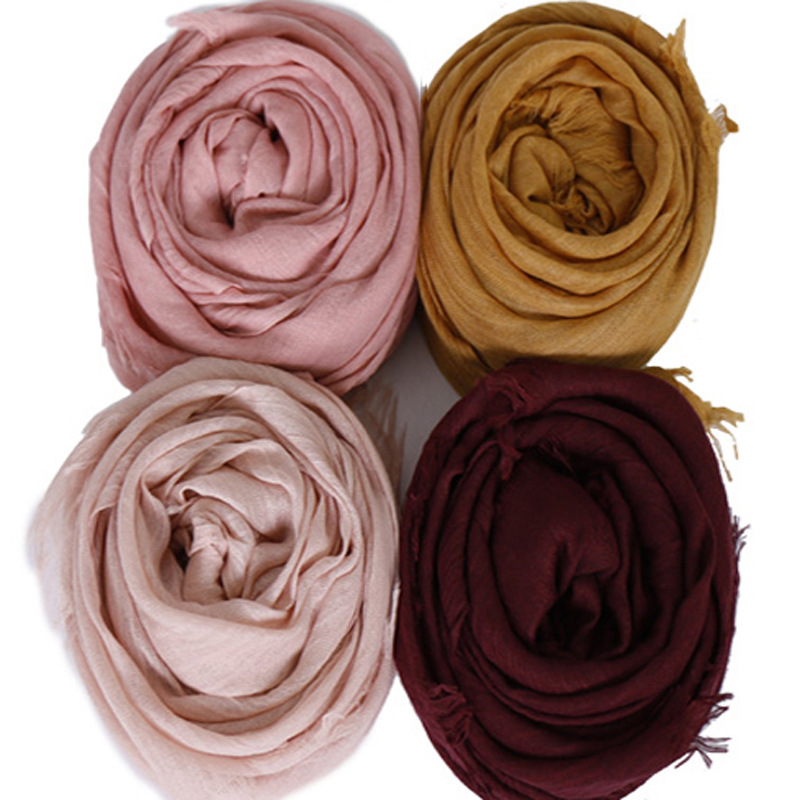 10pcs lot solid maxi Muslim Hijab Scarf Shawls Plain scarves soft cotton Frayed breathable pashmina wraps