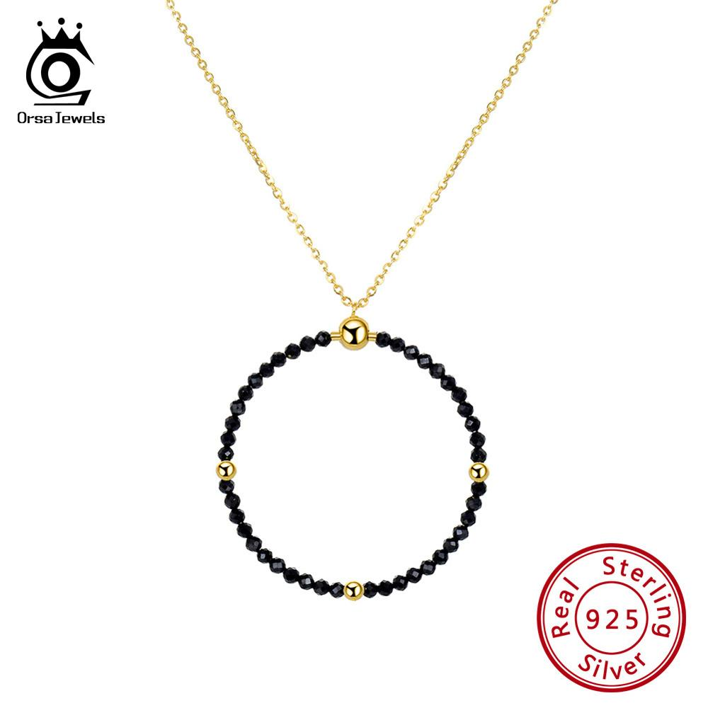 ORSA JEWELS 100% Real 925 Sterling Silver Women Necklace Black Spinel Pendant 18K Gold Chain Fashion Single Fine Jewelry SN159-B image