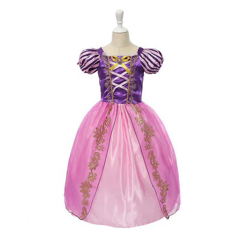 где купить VOGUEON Girls Rapunzel Princess Party Cosplay Costume Girl Snow White Belle Cinderella Sleeping Beauty Birthday Halloween Dress дешево