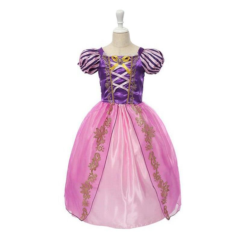 VOGUEON Mädchen Rapunzel Cosplay Prinzessin Kostüm Mädchen Schnee Weiß Belle Cinderella Dornröschen Geburtstag Halloween Party Kleid