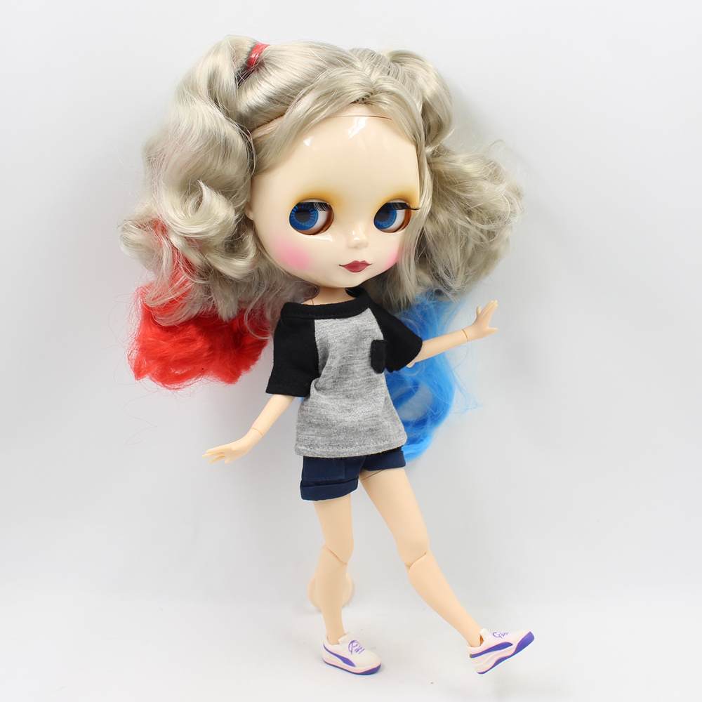 Blyth Nude Doll Curly Mixed Color Hair With Joint Body 4 Colors Big Eyes Suitable DIY Makeup fashion dolls blyth nude doll joint body with long wavy white hair 4 colors big eyes 1 6 bjd blyth dolls suitable diy makeup toys