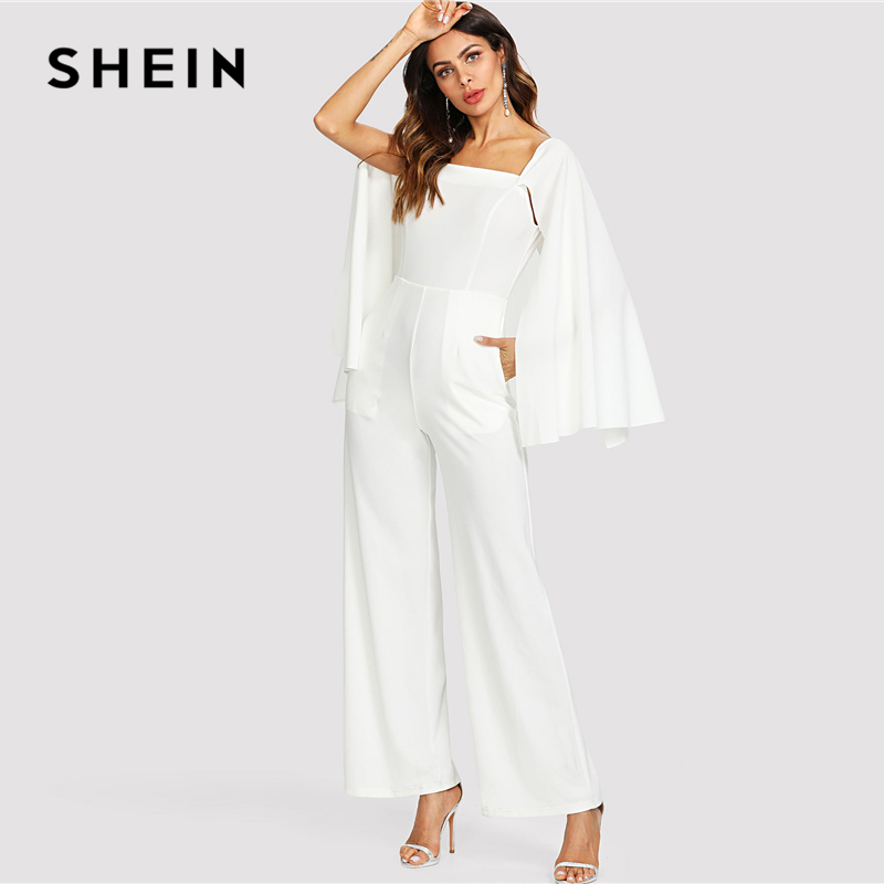 6df66c40b1 Aliexpress.com : Buy SHEIN White Elegant Cloak Long Sleeve Wide Leg Square  Neck Pocket Solid Maxi Jumpsuit Summer Women Weekend Casual Jumpsuit from  ...