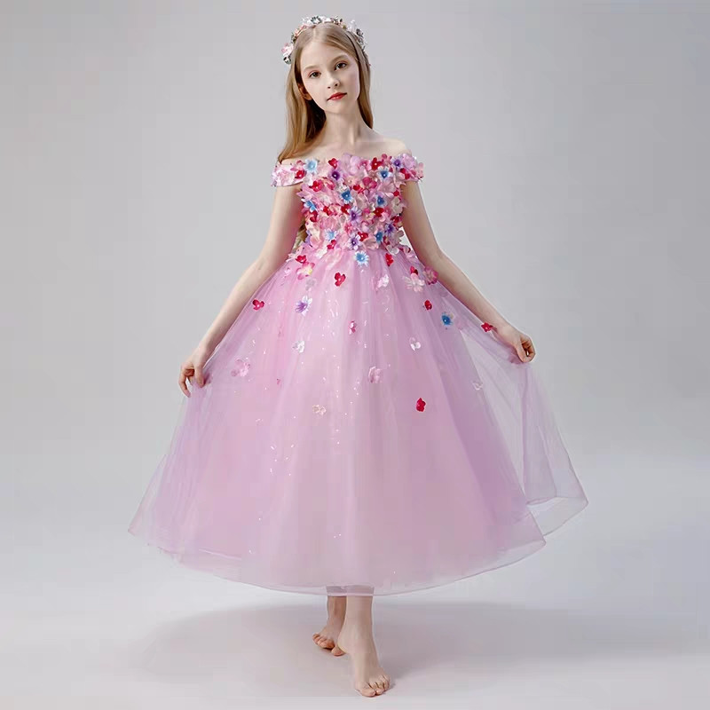 Children Girls Summer Luxury Hand-made Appliques Flowers Model Show Host Costume Puffy Dress Kids Birthday Wedding Party DressChildren Girls Summer Luxury Hand-made Appliques Flowers Model Show Host Costume Puffy Dress Kids Birthday Wedding Party Dress