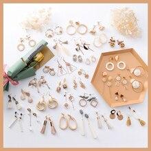 2019 New Korean Apricot Resin Tassel Drop Earrings Cold wind For Women Girls Pendientes Gift 26 Designs Dangle Statement Earring