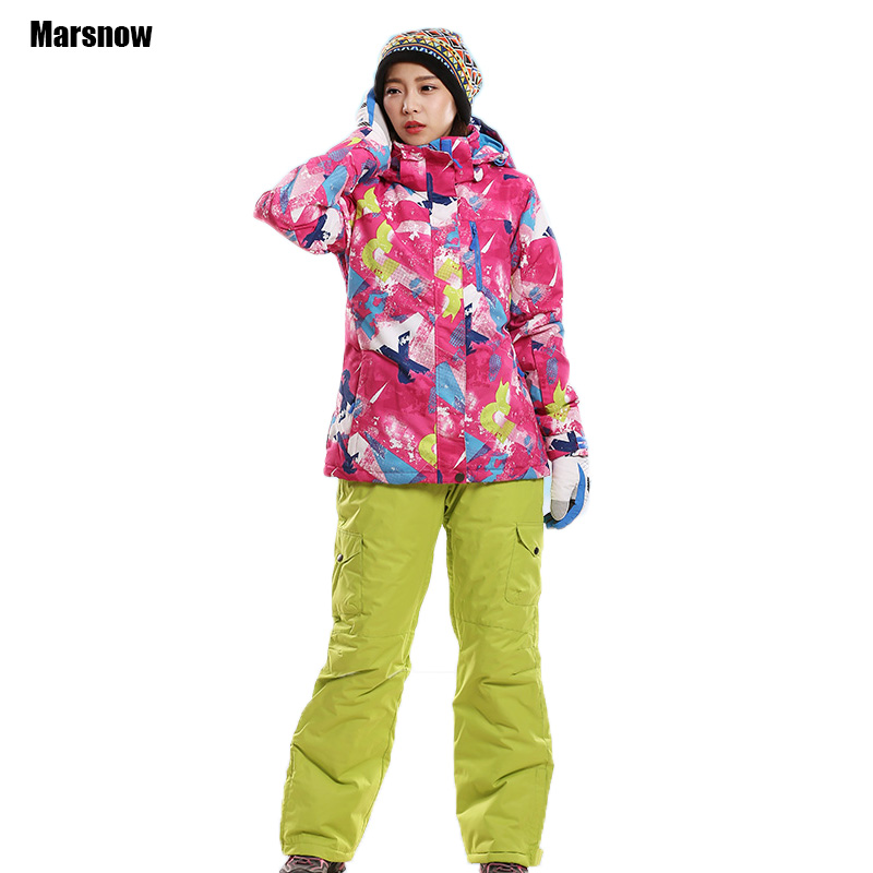 цены Winter suit women Snow jacket and Pants Female outdoor sportswear coat waterproof skiing mountain snowboard ski suit for Girls