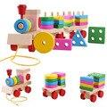 Trem de madeira Puzzles Brinquedos Stacking Forma Geometria Conjunto de Trem Combinação Crianças Brinquedos Educativos Todo