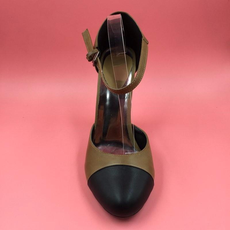 Round Toe Ankle Strap Pump Dua Potong Wanita Pompa Chunky Heels Unik - Sepatu Wanita - Foto 3