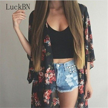 Women Casual Vintage Kimono Cardigan Ladies 209 Summer Long Crochet Chiffon Preto Loose Flora Printed Blouse Tops Black