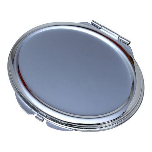 Metal Compacto Espelho de Maquilhagem Oval Em Branco