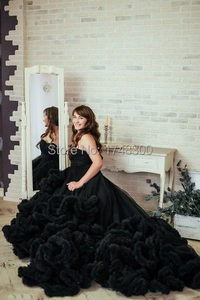 Plus Size Black Ball Gown Luxurious Wedding Dress Long Train Cloud V Neck Bridal Vestido De Noiva 2017 In Dresses From