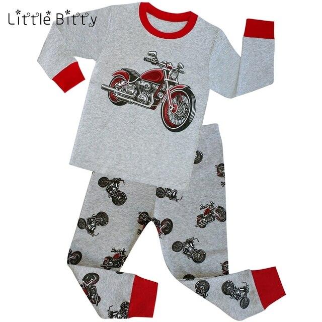 2b283434d34a 100 Cotton Long Sleeve Motorcycle Boys Pajamas Children Cartoon ...