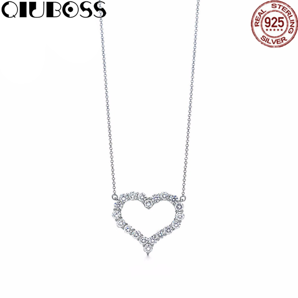 QIUBOSS Heart Necklace Heart-Shaped Pendant TIFF 925 Sterling Silver Pendant Tiff Necklace Nature Fashion Joker Jewelry Package ayowei heart shaped 925 sterling silver rainbow zircon pendant necklace wedding gift sp75a