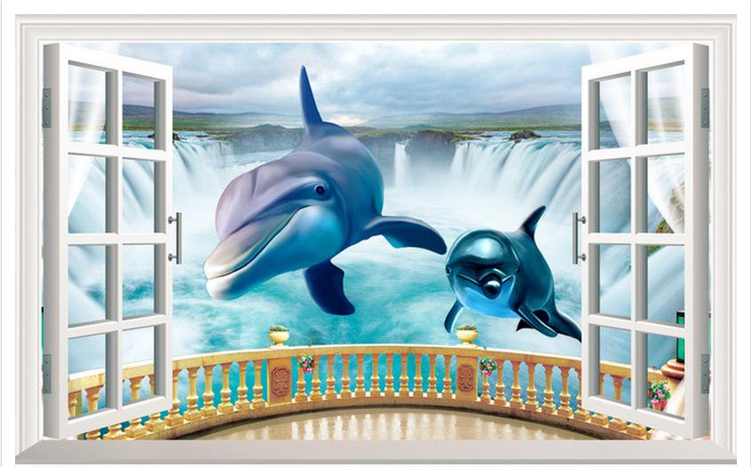 Compare prices on dolphin wall murals online shopping buy for Dolphin wall mural