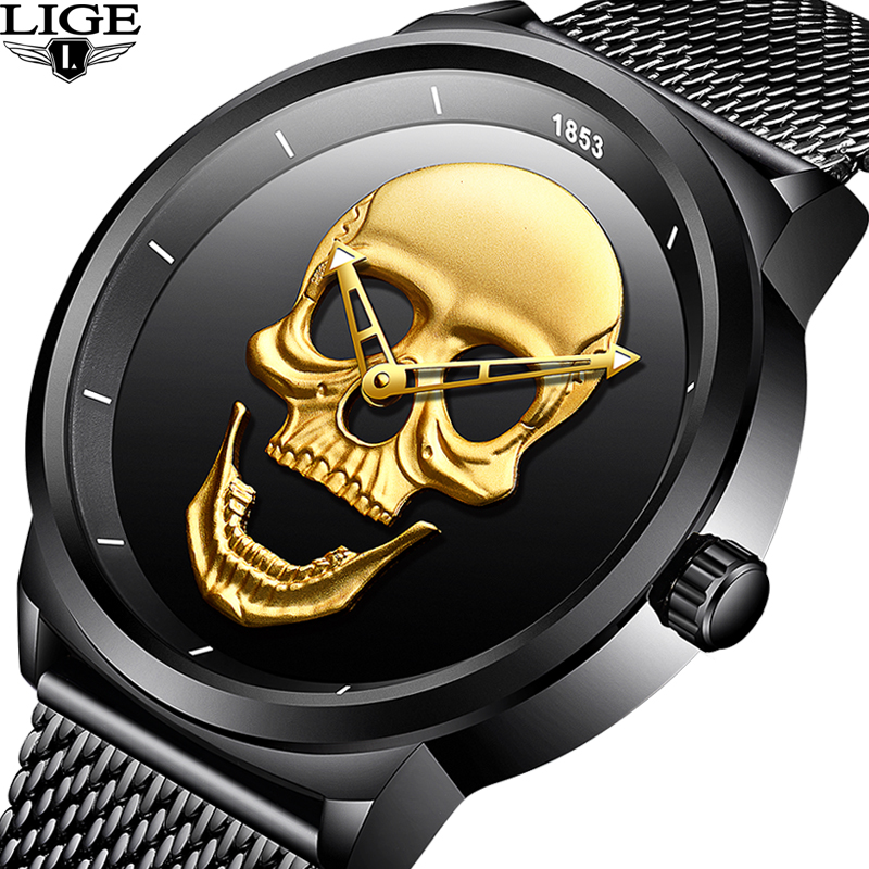 NEW LIGE Men Watch Top Brand Skull Quartz Watches Male Clock Luxury Business Stainless Steel Mesh Belt Watch Relogio Masculino sinobi luxury brand new design men watch silver stainless steel mesh band quartz watches men simple slim business male clock