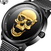 NEW LIGE Men Watch Top Brand Skull Quartz Watches Male Clock Luxury Business Stainless Steel Mesh Belt Watch Relogio Masculino