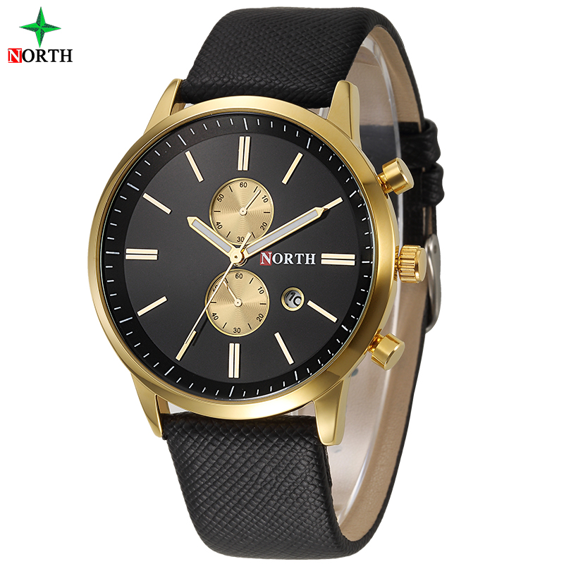 Men Watches Top Brand NORTH Luxury Quartz Watch Reloj Hombre Casual Leather Sport Wristwatch Watch Man Clock Relogio Masculino jedir reloj hombre army quartz watch men brand luxury black leather mens watches fashion casual sport male clock men wristwatch
