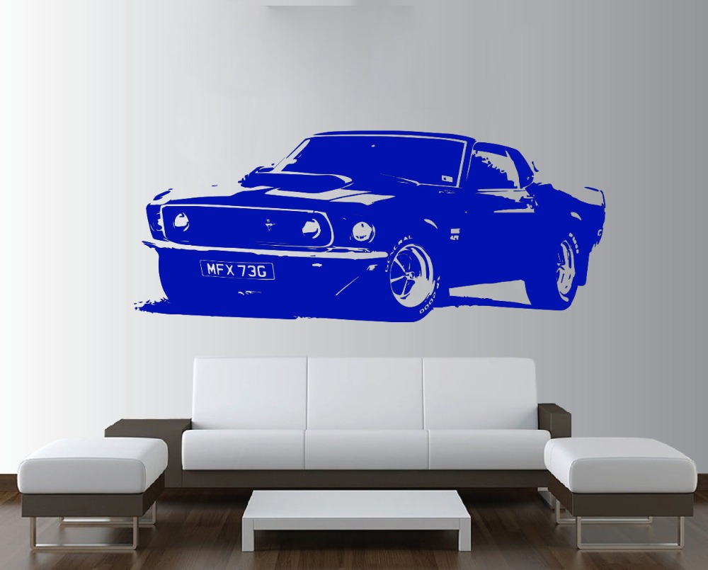 57x150cm Removable Vintage Large Car Ford Mustang 1969 Wall Art Decal Sticker Home Decoration Mural Paper Y-172