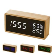 Modern Sound Control LED Alarm Clock Wooden Watch Despertador Temperature Humidity Electronic Desktop Digital Table Clocks